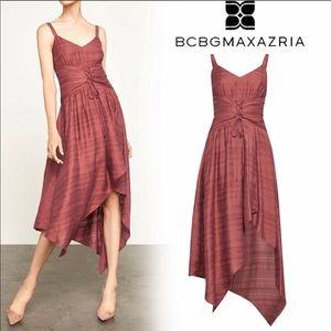 BCBGMAXAZRIA Lace Up Asymmetrical Dress Sunset NWT